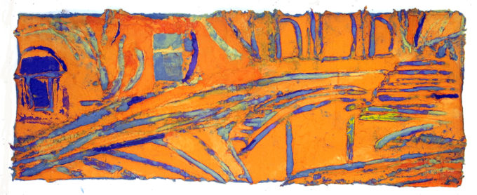 "San Niccolo, II, Incised paper pulp painting, 13"" x 35"", 2019"