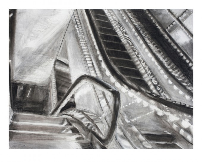 """Marriott Marquis, 2"", charcoal and ink on primed paper, 33"" x 44"", 2010"