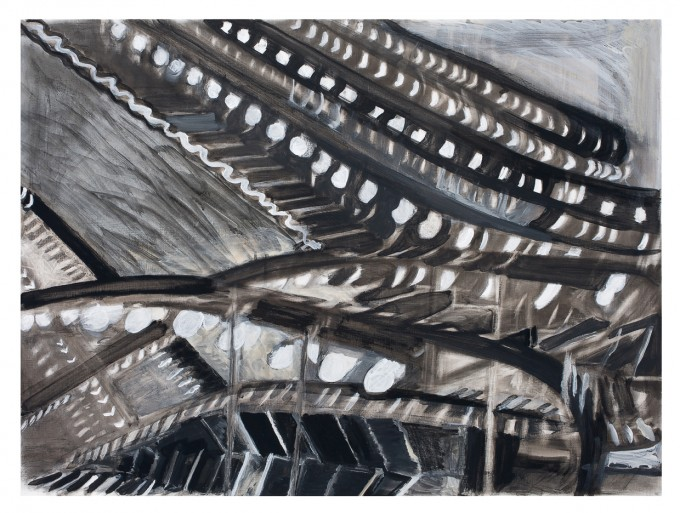 "Marriott Marquis, VI, mixed media on paper, 38"" x 50"", 2012"