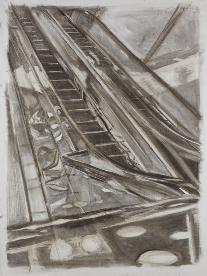 """Plaza, 4"", charcoal on paper, 48"" x 35"", 2013"