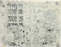 "Study for World Trade Center Series, pencil and pen on paper, 9"" x 12"", 1997"