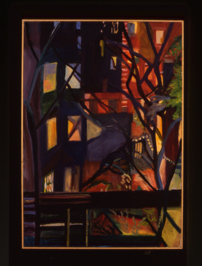 """Night Painting, Saint Marks Place, II"", oil on linen,  34"" x 24"", 1994"