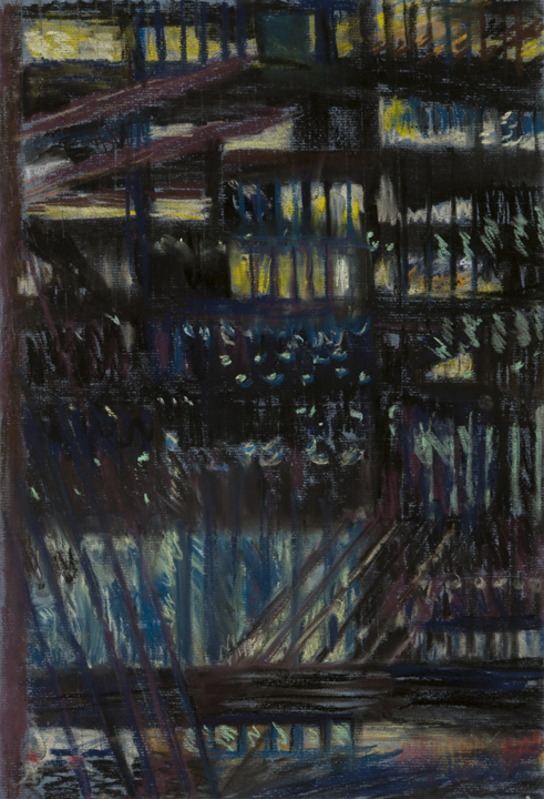 """Night Drawing, 1 Wall ST Plaza, V, pastel on paper, 17"""" x 14"""", 2008"""